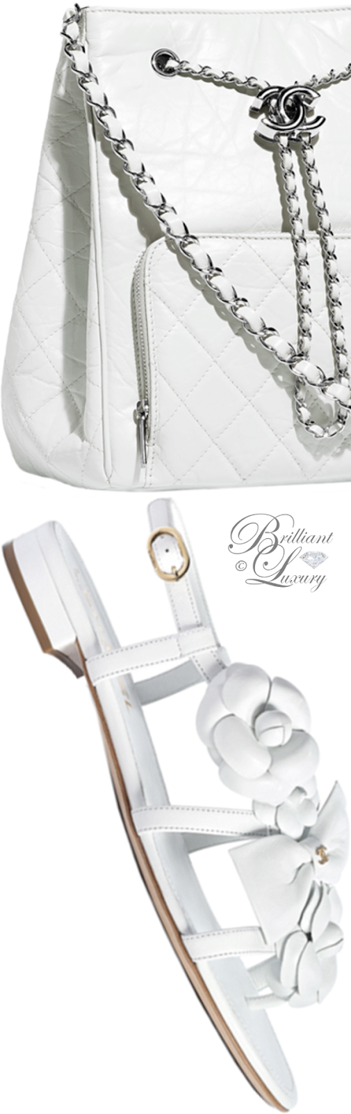 Brilliant Luxury ♦ Chanel white drawstring bag and Chanel white flower flat sandals
