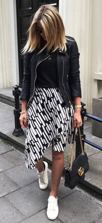 trendy outfit / black jacket + top + midi skirt + sneakers +  bag