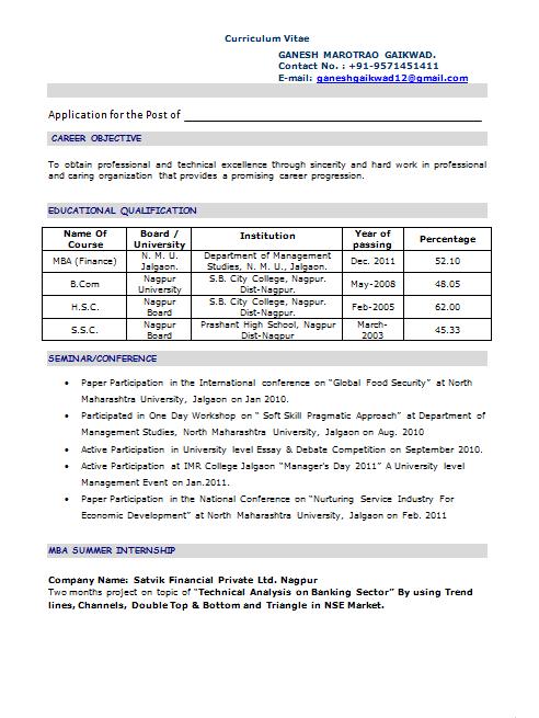 Mba Freshers Resume Format