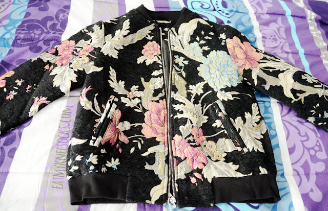Details on the colorful spring-style Asian-inspired embroidered floral bomber jacket from Make Me Chic.