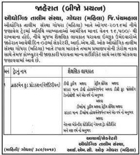 Industrial Training Institute (Female), Godhara Recruitment 2016 for Lecturer