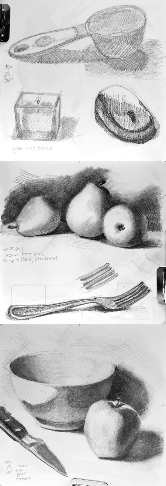 Daily Art 11-24-17-11-26-17 still life sketch in graphite number 30-35 - weekend roundup