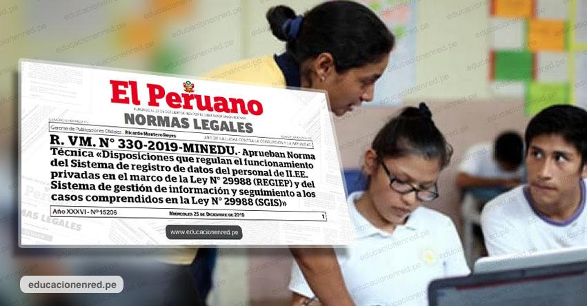Directores deben consultar el REGIEP antes de contratar Docentes y Administrativos para colegios privados (R. VM. N° 330-2019-MINEDU)