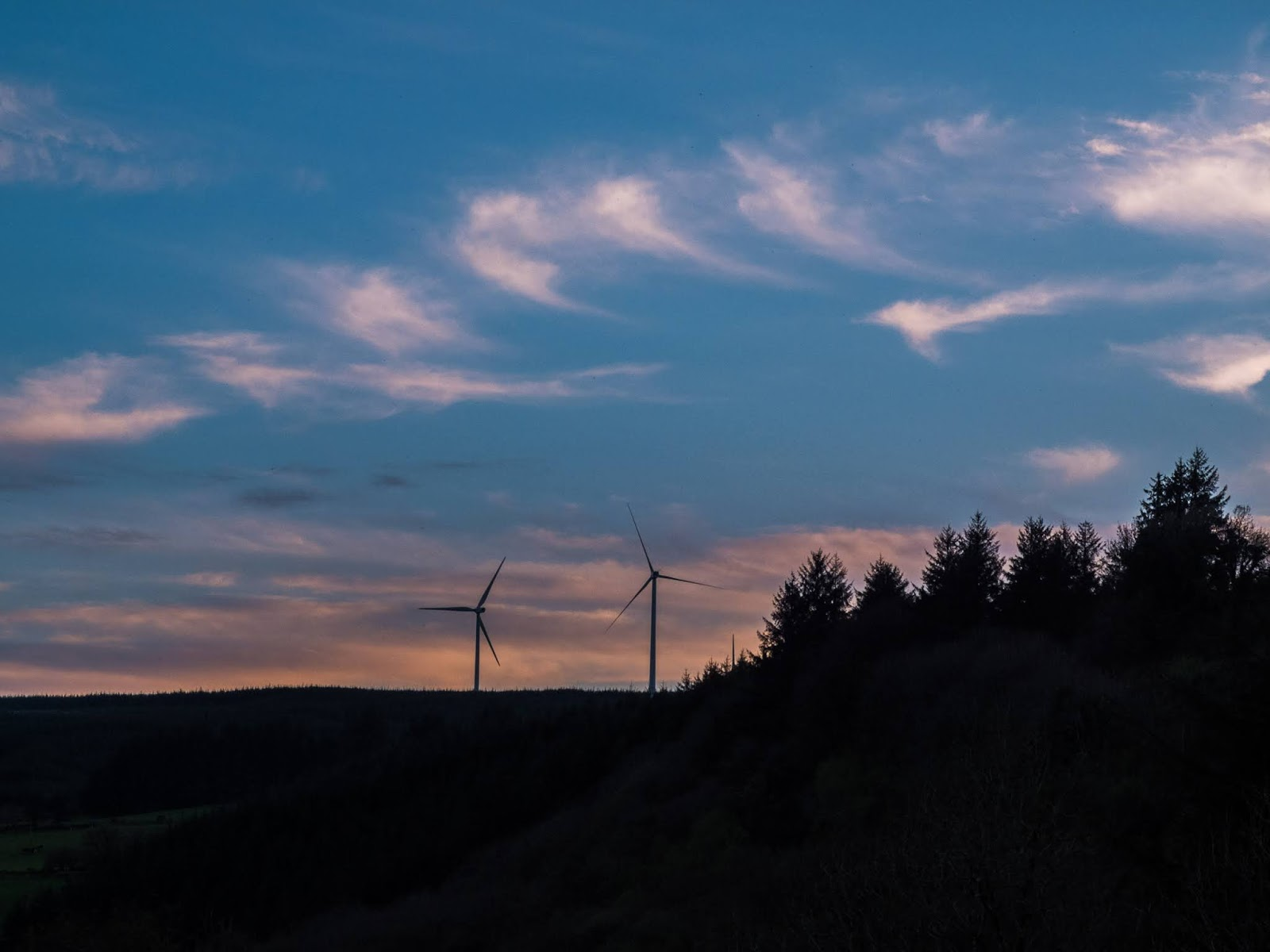 Wispy sunset clouds over a valley in the Boggeragh Mountains with coniferous forestry and windmills.