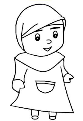 Gambar Mewarnai Anak Muslim - 8