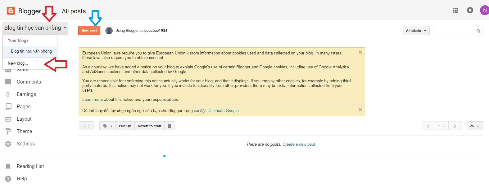 Trang quản trị Blog cá nhân của bạn