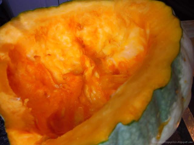 Pumpkin being processed