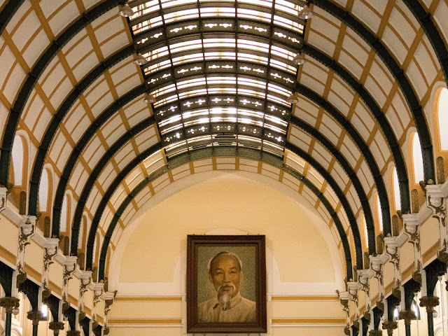 Portrait of Ho Chi Minh in the post office in Saigon Vietnam