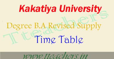 KU Degree BA supply 1st 2nd final year revised postponed time table 2016