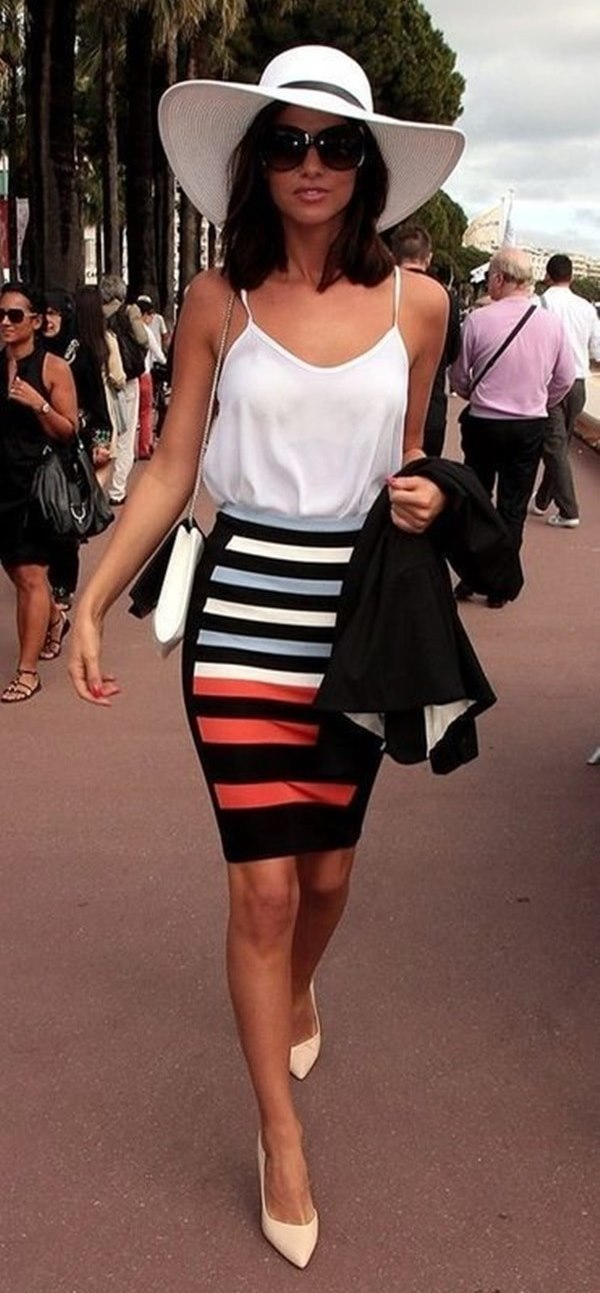 how to wear a hat : white top + bag + heels + pencil striped skirt