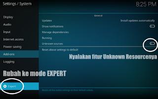 cara setting kodi menu expert