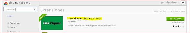 linkklipper - exportar url de una página web