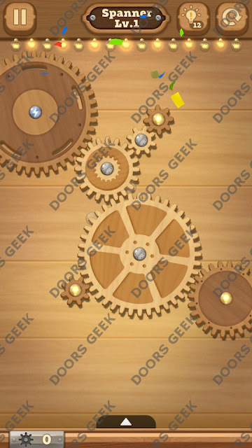 Fix it: Gear Puzzle [Spanner] Level 1 Solution, Cheats, Walkthrough for Android, iPhone, iPad and iPod