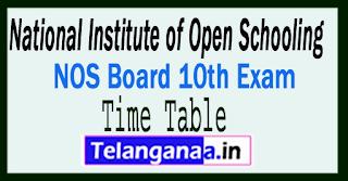 NIOS 10th Exam Time Table 2018