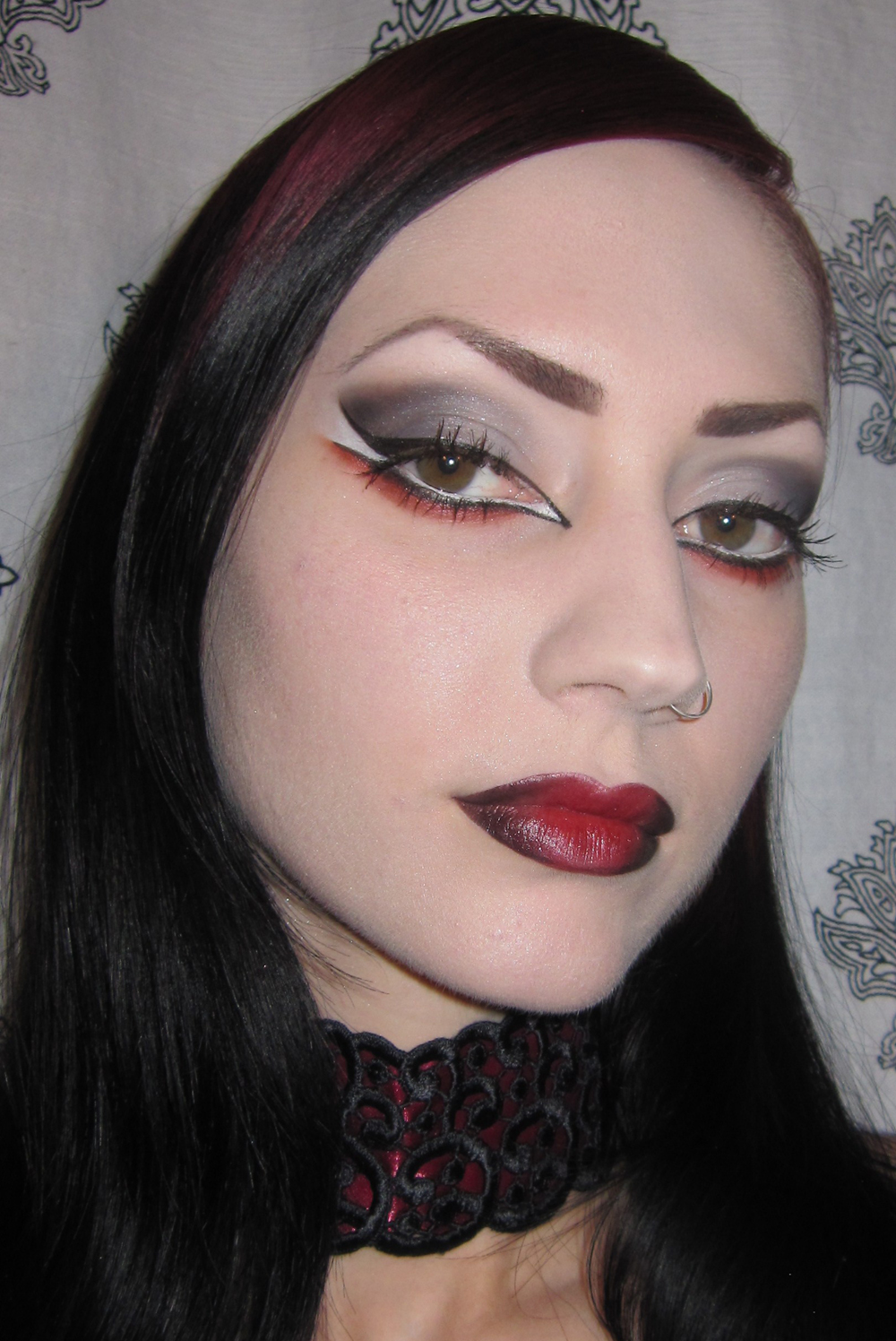 glitter is my crack smokey black gray and red gothic vampire halloween makeup look with. Black Bedroom Furniture Sets. Home Design Ideas