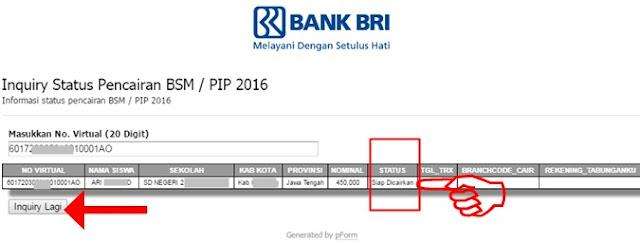 Kapan dana dana pinjaman PIP lewat KIP dan Cara Cek Virtual Account _Inquiry Status Pencairan Dana Bantuan BSM/PIP Siswa SD/SMP/SMA/SMK Tahun 2020