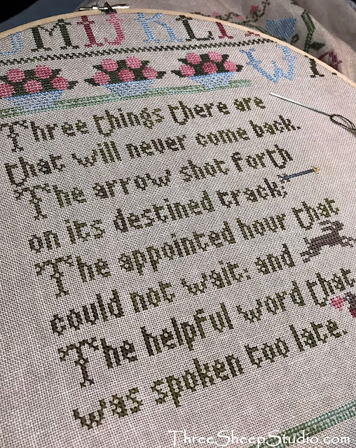 """Three Things Sampler"" design by Moira Blackburn.  Stitched by Rose Clay at ThreeSheepStudio.com"