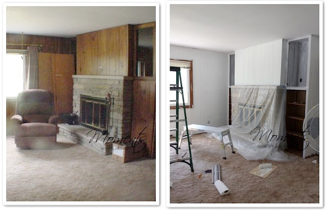 Before and after priming the paneling