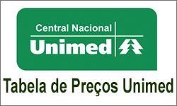 Tabela de Preço Unimed Central Regional e Nacional Brasilia DF