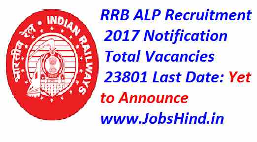 RRB ALP Recruitment 2017 Ke liye 23801 Assistant Loco Pilot Posts Apply online kare