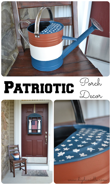 Turning an old watering can into Patriotic porch decor!