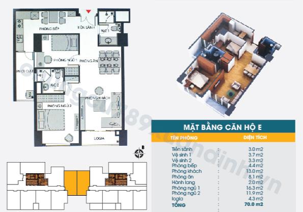 Diện tích căn hộ loại D : 70,0m2