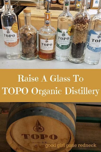 TOPO Organic Distillery, distillery tour, Chapel Hill North Carolina, NC eats, organic spirits, whiskey, whiskey reserve, Carolina Straight Wheat Whiskey, Moonshine, Eight Oak Whiskey, Vodka, Gin