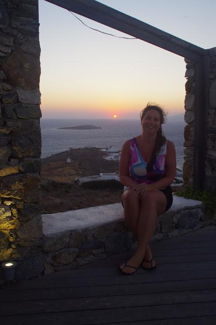 Girl at sunset Mykonos