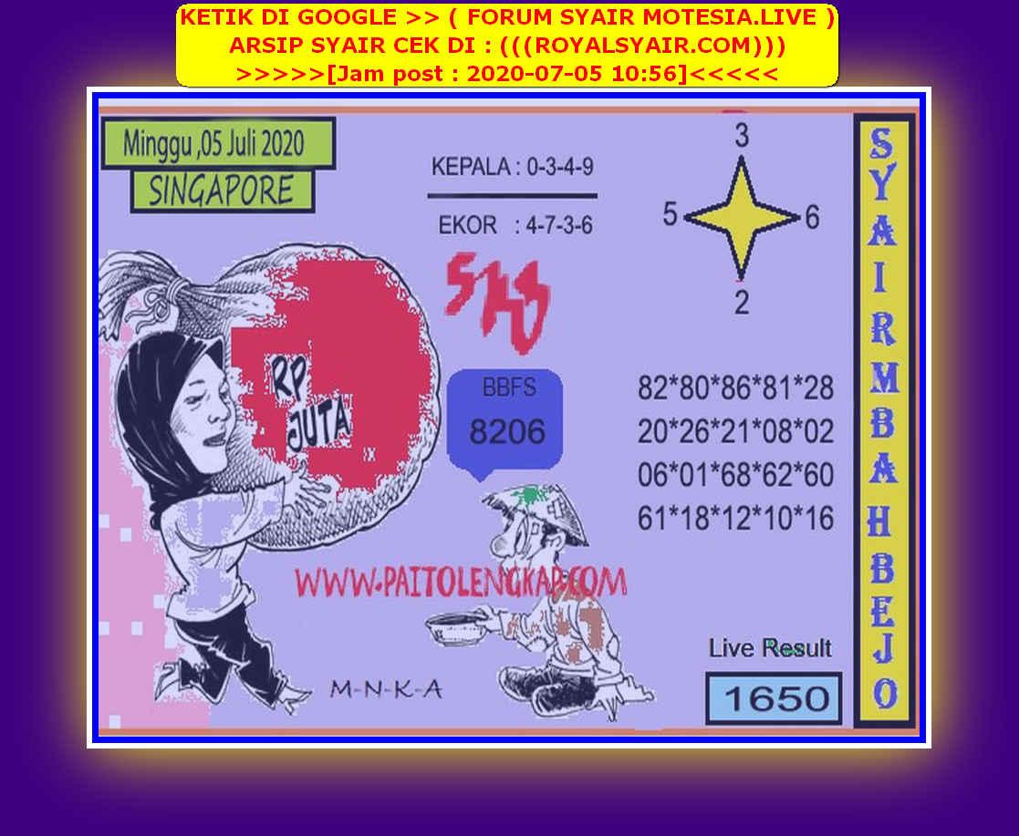 Kode syair Singapore Minggu 5 Juli 2020 126