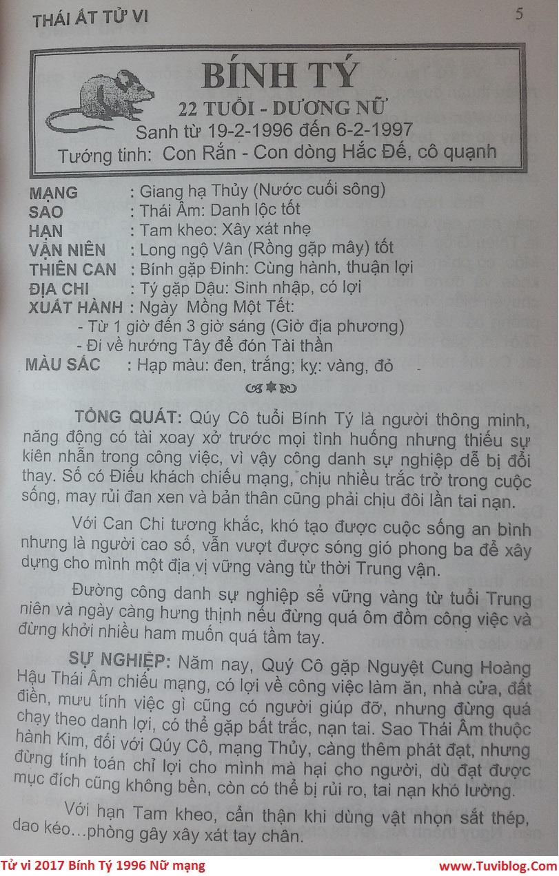 Tu vi 2017 tuoi Binh Ty 1996 nu mang