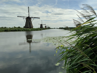 View of Kinderdijk, The Netherlands. Biking trails run through the park.
