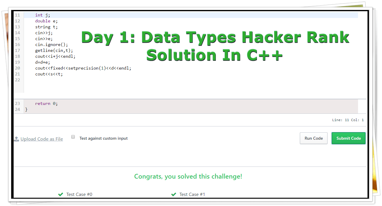 Hackerrank Solution For Day 1: Data Types Output