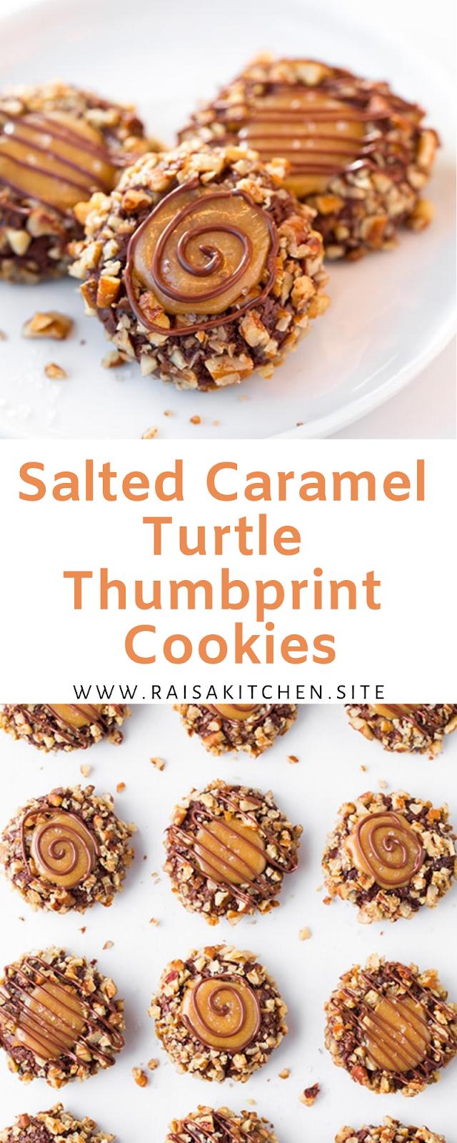Salted Caramel Turtle Thumbprint Cookies