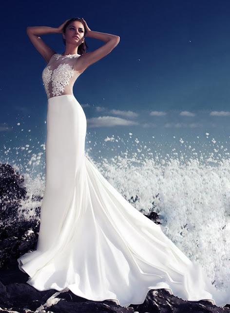 Sexy Scoop Appliques Floor-Length Ivory Zipper-Up 2015 Wedding Dress
