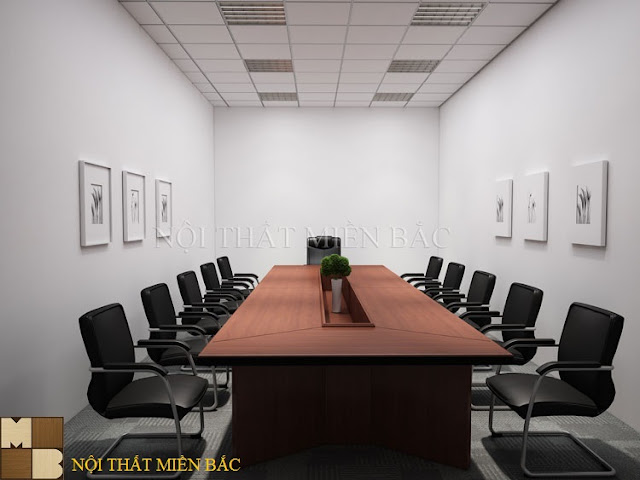 Bàn veneer phòng họp với màu sắc và vân gỗ khỏe khoắn, nhã nhặn mang đến nét chấm phá trong không gian phòng họp