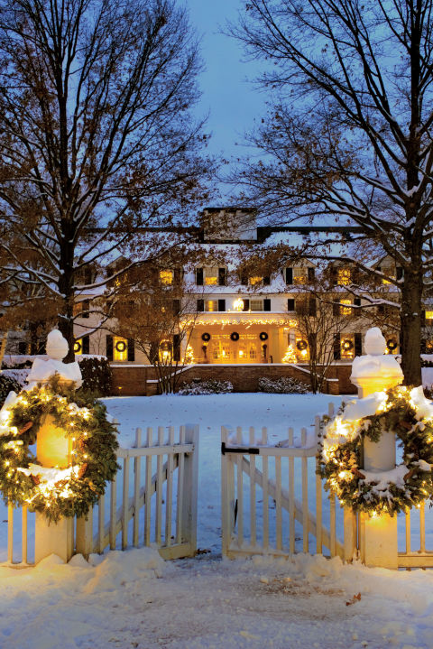 image result for beautiful Woodstock Inn exterior decorated for Christmas elegant sophisticated interior design