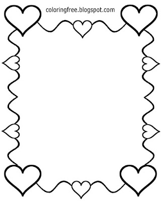 Happy coloring simple border love hearts drawing ideas for Valentines pictures to color in and print