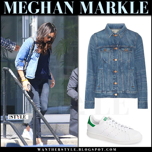 Meghan Markle in denim jacket madewell and white sneakers adidas what she wore april 2017