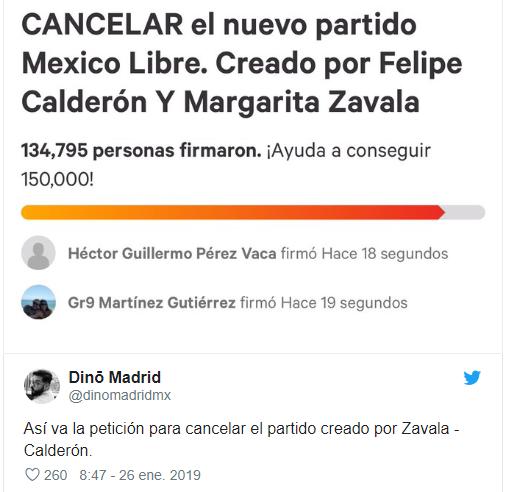 Lleva 100 mil firmas el partido de Calderón