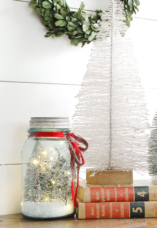 Bottle Brush trees and vintage inspired snow globe
