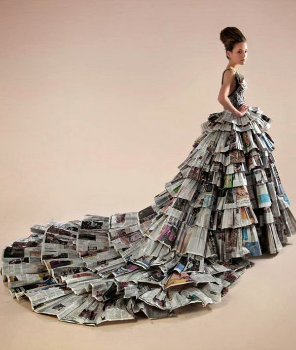 Creative Ideas Newspaper Beautiful Dress Arts And Crafts Ideas