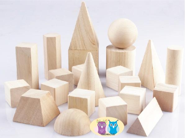 ibabiesclub: TM012 Montessori Wooden 3D Shapes Blocks 蒙氏