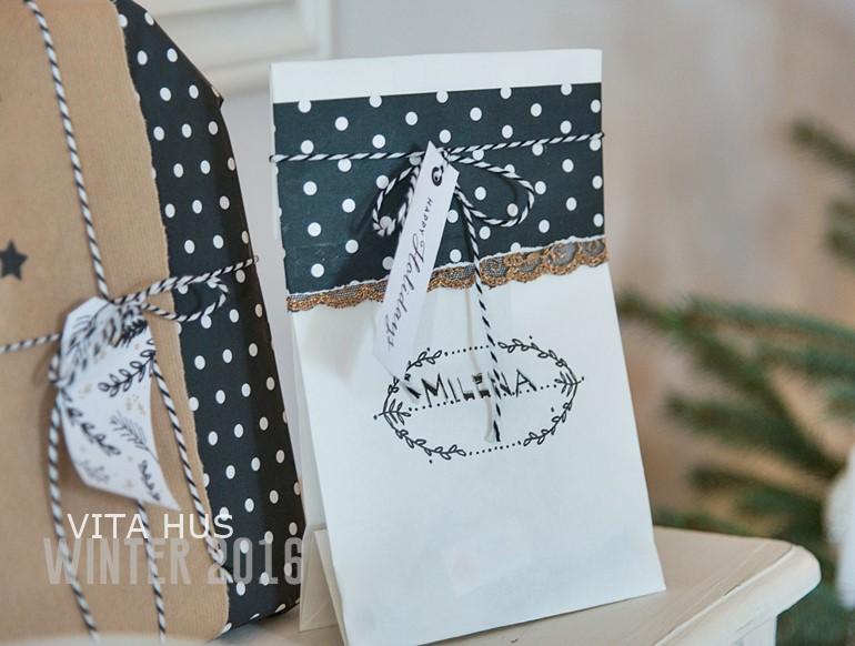 weihnachten i geschenkanh nger schwarz weiss gold vitahus. Black Bedroom Furniture Sets. Home Design Ideas