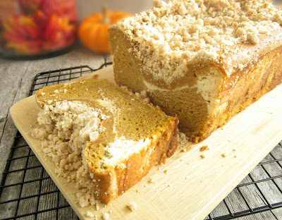Streusel Pumpkin Bread with Cream Cheese Swirl