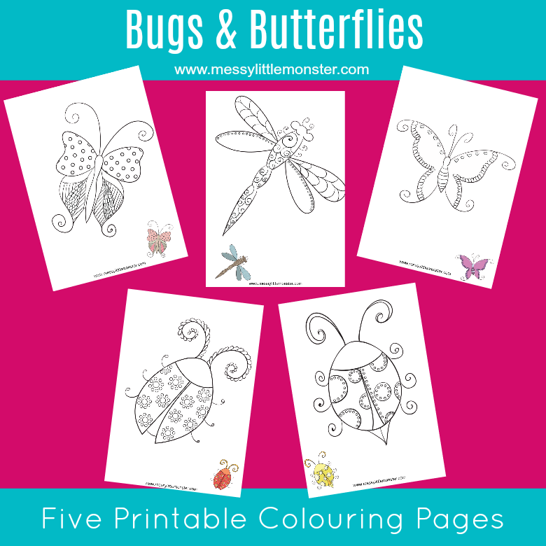 Free Bug and butterfly printable colouring pages for kids. A set of 5 Spring colouring sheets inlcuding 2 butterflies, 2 bugs and a dragon fly. Great for toddlers, preschoolers and older kids too!