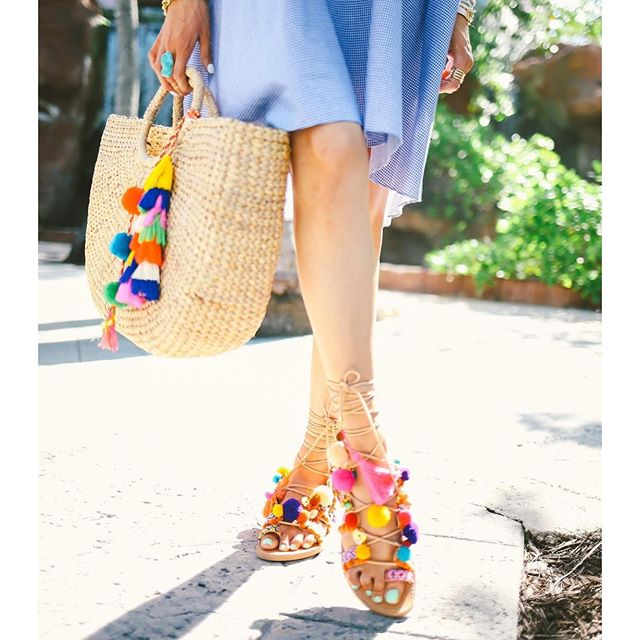 penny lane sandal, sandals with charms and poms that lace up foot, elina linardaki sandals, jade tribe bags