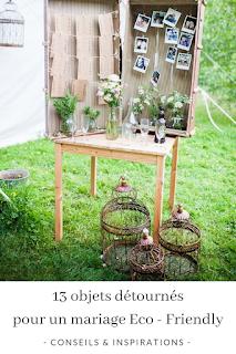 inspirations d'objets détournés pour une décoration de mariage éco-friendly blog mariage www.unjourmonprinceviendra26.com