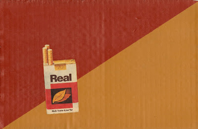 coat of arms red and yellow oxide Real vintage cigarette flag Dada fluxus collage Amor Fati Nietzsche
