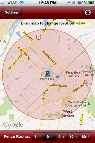 screenshot of geofence showing the radius that can be set on the app