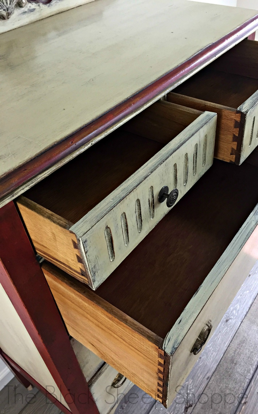 Drawer interiors of vintage dresser